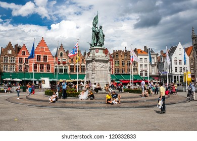 BRUGES, BELGIUM - AUGUST 5: View of the historical centre of Bruges, Belgium, on August 5, 2012. The historic city centre of Bruges is a prominent World Heritage Site of UNESCO.