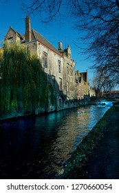 Bruges, Belgium with canals and medieval structures