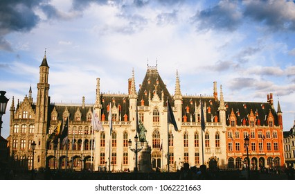 BRUGES, BELGIUM - CIRCA AUGUST 2009: The Provinciaal Hof (Province Court), a Neogothical building on the market place in Bruges, Belgium