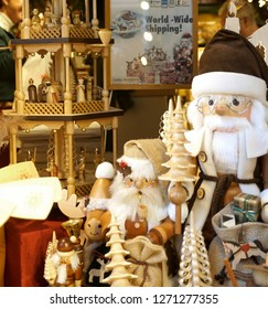 Bruges, Belgium, city,  November 17, 2018 13:30: illustrative editorial photograph of a store window christmas display