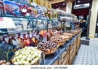 BRUGES, BELGIUM - DECEMBER 05 2016 - Chocolate shop with a big variety of sweets and belgian chocolate