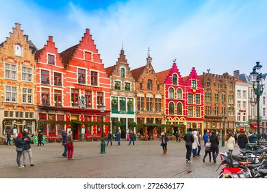 Bruges, Belgium - December 26, 2014: Christmas Grote Markt square of Brugge at morning. Bruges - one of the most beautiful and wonderfully preserved medieval cities in Europe, there is now an