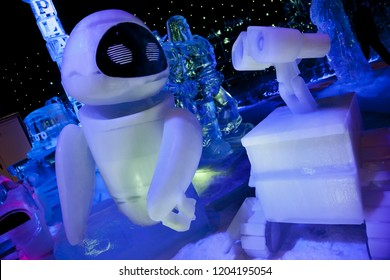 Bruges, Belgium – December 9, 2011: Ice sculptures of the Wall-e and Eva characters of Walt Disney and Pixar Studios in Ice in Wonderland Christmas Festival