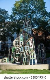 BRUGES, BELGIUM/ EUROPE - SEPTEMBER 25:  Modern sculpture outside St. Salvator's Cathedral in Bruges West Flanders Belgium on September 25, 2015. Unidentified person.