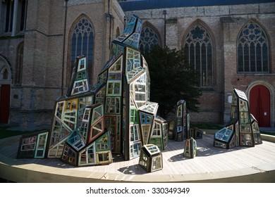 BRUGES, BELGIUM/ EUROPE - SEPTEMBER 25:  Modern sculpture outside St. Salvator's Cathedral in Bruges West Flanders Belgium on September 25, 2015