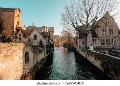 BRUGES, BELGIUM - FEBRUARY 7 2020: Hiistoric streets of Bruges in Belgium.
