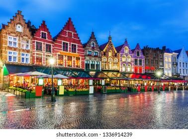 Bruges, Belgium. Grote Markt square at night.