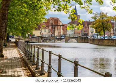 Bruges, Belgium with its historic old town and canals.
