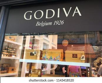 Bruges, Belgium, July 14, 2018: Godiva Chocolate Store