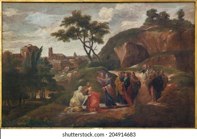 BRUGES, BELGIUM - JUNE 12, 2014: Paint of scene Jesus and disciples by D. Nolet 1645) in st. Jacobs church (Jakobskerk).