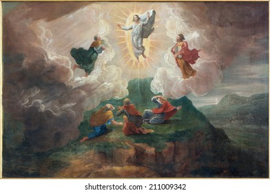 BRUGES, BELGIUM - JUNE 12, 2014: The Transfiguration of the Lord by D. Nollet (1694) in st. Jacobs church (Jakobskerk).