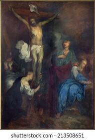BRUGES, BELGIUM - JUNE 12, 2014: The Crucifixion by L. Dedeyster (1634)  in st. Jacobs church (Jakobskerk).