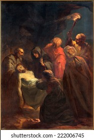 BRUGES, BELGIUM - JUNE 12, 2014: The Burial of Christ painting by unknown painter as the part of Way of the Cross in st. Jacobs church (Jakobskerk).