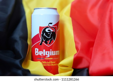BRUGES, BELGIUM - JUNE 12, 2018: Belgium beer can created by official sponsor of the Belgian Red Devils Jupiler for the football World Championship in Russia in June 2018. Jupiler is a brand of Inbev