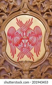 BRUGES, BELGIUM - JUNE 13, 2014: The cherub symbolic on the iconostasis in st. Constanstine and Helena orthodox church (2007 - 2008).