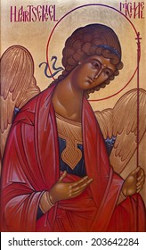 BRUGES, BELGIUM - JUNE 13, 2014: Saint archangel Michael  in st. Constanstine and Helena orthodx church (2007 - 2008).