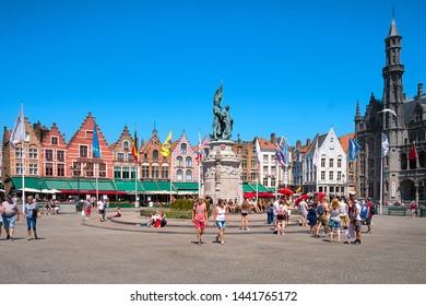 Bruges, Belgium- June 29, 2018 : View of Bruges Market Square (Grote Markt), the central market square.