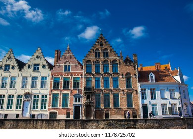 BRUGES, BELGIUM - MARCH, 2018: Houses representative of the traditional arquitecture of the historical Bruges town