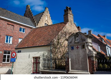 BRUGES, BELGIUM - MARCH, 2018: Traditional arquitecture of the historical Bruges town center