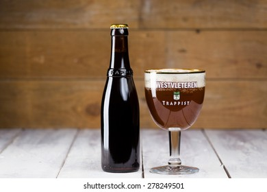 BRUGES, BELGIUM - MAY 15, 2015: Westvleteren Trappist Beer XII 12 awarded best beer in the world since 2005. Brewed at the Abbey St-Sixtus by monks. Famous beer, high in demand with limited supply.