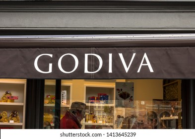 Bruges, Belgium - May 8, 2019: Godiva Chocolate Store,  Godiva Chocolatier is a manufacturer of fine chocolates and related products, founded in Belgium in 1926