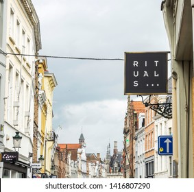 Bruges, Belgium May 8, 2019:  Rituals store. Rituals sells an extensive collection of luxurious yet affordable products for home and body.