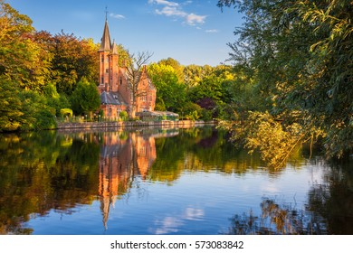 Bruges, Belgium: The Minnewater (or Lake of Love), a fairytale scene