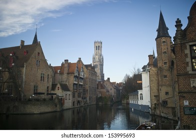 "BRUGES, BELGIUM - NOV 30: Houses along the canals of Brugge or Bruges, Belgium on November 20, 2012. Bruges is frequently referred to as ""The Venice of the North"" for its canals."