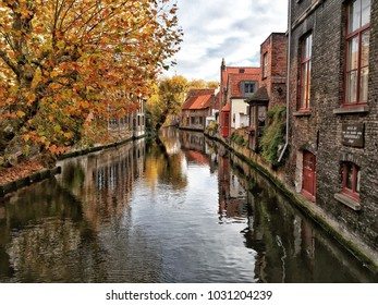 Bruges, Belgium - Novembe; Canal of Bruges that surrounded by historical houses in Belgium
