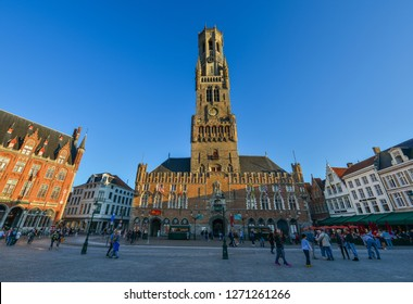 Bruges, Belgium - Oct 5, 2018. The Belfry of Bruges (Belfort van Brugge), Belgium. It is a medieval bell tower (82m) in the centre of Bruges.