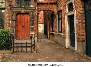 BRUGES, BELGIUM - OCTOBER  04, 2014 : Ancient building court of Bruges (Brugge), Belgium.  Bruges is one of the most popular historical and architectural sights of Europe