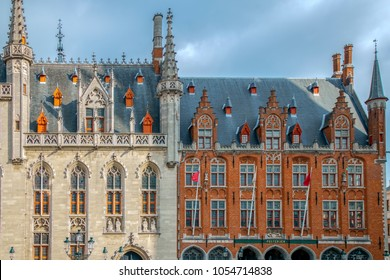 BRUGES, BELGIUM - OCTOBER 13, 2015: Front view of The Provinciaal Hof - Province Court- and local post building, neogothical buildings on the market place in Bruges.