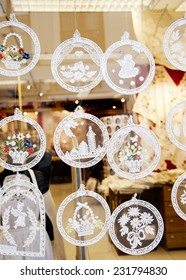 BRUGES, BELGIUM - OCTOBER 18: Christmas lace decoration in the shop window in Bruges, Belgium in October 18, 2014