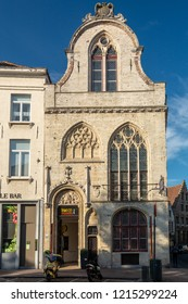 Bruges, Belgium - October 6, 2018:  The Friet Museum (french fries museum) gives visitors a chance to sample fried potatoes and various complementary sauce.
