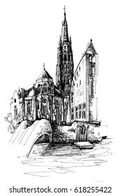 Bruges Belgium pen graphic sketch