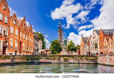 Bruges, Belgium. Scenic city view of Brugge canal Spiegelrei with beautiful medieval houses and reflections, Flanders