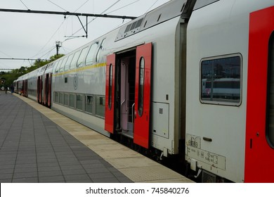 BRUGES, BELGIUM –28 SEP 2017- View of Belgian trains at the Brugge Railway Station, a train station in the historic town of Bruges, a UNESCO World Heritage site in West Flanders, Belgium.