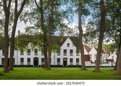 Bruges, Belgium - September 14, 2017: The Princely Beguinage Ten Wijngaerde is the only preserved beguinage in Bruges. There are no more Beguines living there.