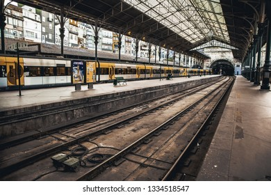 Bruges, Belgium, September 2016: - View of a sign saying Porto at the Porto Railway Station, a train station in the historic town of Porto, a UNESCO World Heritage site in Portugal
