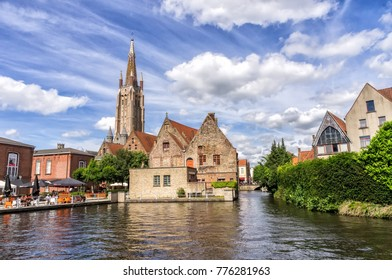 BRUGES, BELGIUM - September 22, 2017, Channels and the St. Salvator's Cathedral in Bruges, Belgium on 22 September 2017