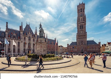 Bruges, Belguim - Jun 26, 2018: Belfry of Bruges, medieval bell tower