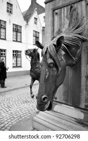 Bruges horse fountain, Belgium