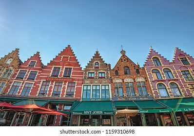 BRUGES - JULY 3, 2018: view of city of Bruges, Belgium on 3 July 2018. Bruges is the capital of West Flanders province and a UNESCO world heritage site since year 2000.