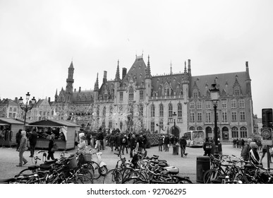 Bruges market in black and white, Belgium