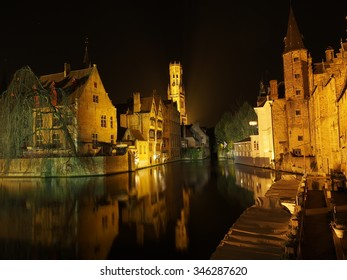 Bruges, Rozenhoedkaai at night
