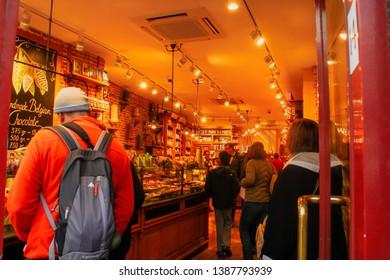 """Bruges/Belgium; 04/28/2016. """"La Belgique Gourmande"""" chocolate shop in Bruges."""
