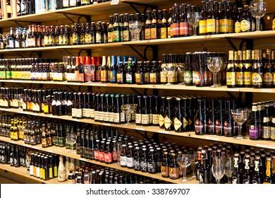 BRUGES/BELGIUM - April 14, 2014:  Beer bottles for sale on display in Bruges, Belgium