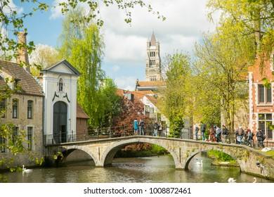 BRUGES,BELGIUM-April 25,2017:Bruges belgium architecture and nature  landmark in Belgium.