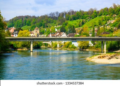 Brugg Town and Aare river in Canton Aargau, Switzerland