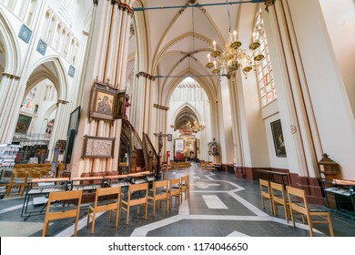 Brugge, APR 28: Interior view of the famous St. Salvator's Cathedral on APR 28, 2018 at Brugge, Beligum